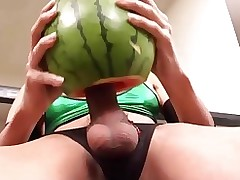 melon enjoyment fetish mint shemale watermelon fruit insertion nylons hair